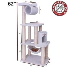 """Majestic 62 BUNGALOW - SHERPA By Pet Products Cat Tree H 62"""" x L 34"""" x W 20"""" NEW"""