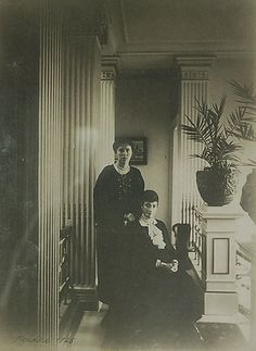 Dowager Empress Marie Feodorovna at her Danish residence 'Hvidore' with her daughter Olga Alexandrovna, c. 1925