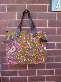 Gorgeous Pink Orange and Green Floral Tote Bag by LilyPilyVintage