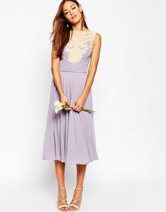 Image 1 ofASOS WEDDING Lace Applique Midi Dress