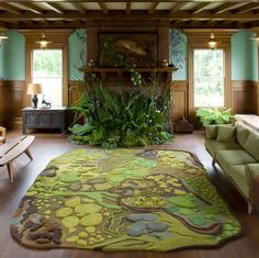 How about a forest-themed living room? (With Angela Adams rug)