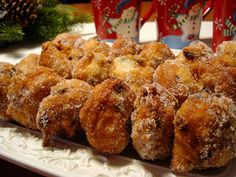 Portzelky (New Year Fritters) Mennonite Girls Can Cook: December 2009 Amish Recipes, Cooking Recipes, German Recipes, Ukrainian Recipes, Bread Recipes, Yummy Recipes, Recipies, Holiday Baking, Christmas Baking