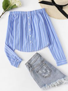 Shop Off Shoulder Single Breasted Striped Top online. SheIn offers Off Shoulder Single Breasted Striped Top & more to fit your fashionable needs. Teen Fashion Outfits, Blue Fashion, Diy Fashion, Fashion News, Girl Outfits, Cute Outfits, Fashion Styles, Stylish Outfits, Fashion Women