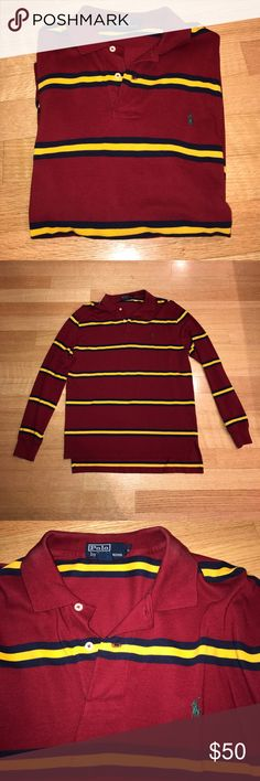 Polo Ralph Lauren long sleeve striped polo Size L. Burgundy, gold, navy with green polo horse. 100% cotton. Worn once and in EUC. Feel free to ask me any questions! Polo by Ralph Lauren Shirts Polos