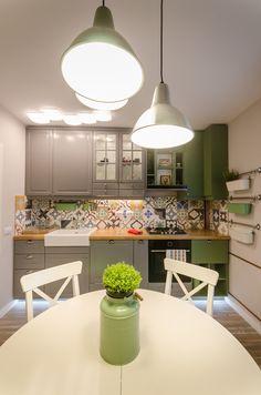 Apartamentul Copper, din București. Sau când un arhitect începe să spună povești. Patchwork Tiles, Home And Deco, Rustic Industrial, Beautiful Homes, House Beautiful, Kitchen Dining, Home Goods, Ceiling Lights, Interior Design