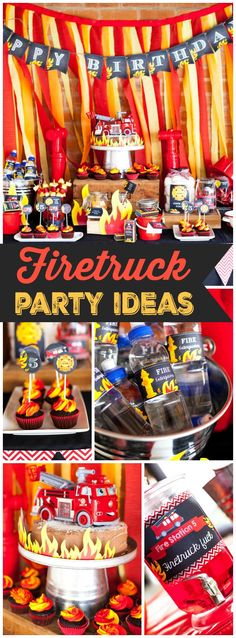 Check out this fantastic firetruck boy birthday party! See more party ideas at CatchMyParty.com!