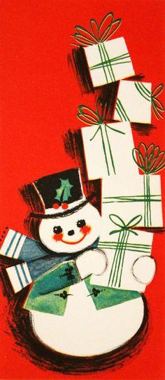 Retro Snowman. Vintage Christmas Card. Retro Christmas card.