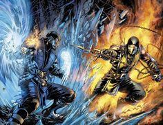 Mortal Kombat X - Sub-Zero vs. Scorpion by Ivan Reis *