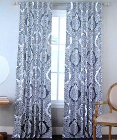 Tahari Navy Blue White Damask Medallions Window Panels Drapes Set Of 2 52 By 96