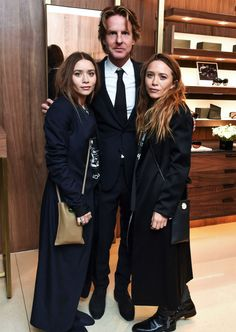 Ashley and Mary-Kate with David Schulte at the launch of the collaboration between The Row and Oliver Peoples, February 16 2016 (via olsensobsessive.com)Adore their looks!