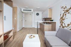 Naprawdę małe mieszkania - aranżacje, wskazówki. Jak się mieszka na 12 mkw.? Divider, Flat, Room, Furniture, Home Decor, Bedroom, Bass, Decoration Home, Room Decor