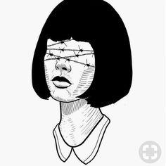 sometimes our opinions are like barbed wire over our eyes— literally blinding us and paining us Dark Drawings, Tattoo Drawings, Tattoos, White Art, Black Art, Desenho Tattoo, Art Sketches, Art Inspo, Art Reference