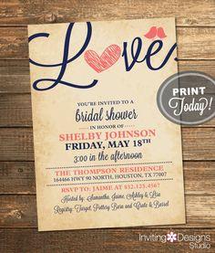 Rustic Bridal Shower Invitation Love Birds by InvitingDesignStudio