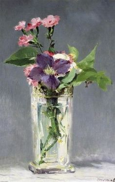 "Edouard Manet - ""Pinks And Clematis In A Crystal Vase"" . 1882 \\ they are precious and priceless, painted while Manet lay dying. Arte Floral, Art Amour, Art Et Illustration, Inspiration Art, Impressionism Art, Fine Art, Art Design, Flower Art, Amazing Art"