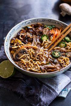 Crockpot Crispy Caramelized Pork Ramen Noodle Soup w-Curry Roasted Acorn Squash| halfbakedharvest.com
