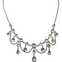 Antique Moonstone 14K Gold Festoon Necklace Edwardian from Suzy's Timeless Treasures on Ruby Lane