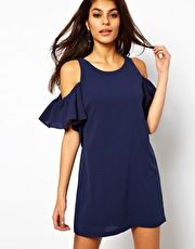 ASOS Shift Dress With Ruffle Cold Shoulder
