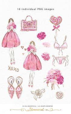 Dulce Romance Clip Art Moda ilustración Bouquet saco ropa