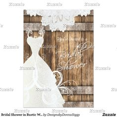 #Sold 101   #Bridal #Shower in #Rustic #Wood and #Lace #Invitations #Card
