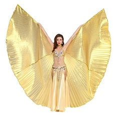 Dance Fairy Belly Dance Isis Wings Performance Costumes,Gold(No Sticks) Best Halloween Costumes & Dresses USA Egyptian Queen Costume, Belly Dancer Costumes, Belly Dancers, Dance Costumes, Fairy Costumes, Dance Store, Celebrity Costumes, Tribal Belly Dance, Carnival