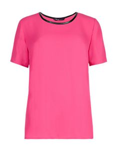 Pink Twiggy for M&S Collection Contrast Trim T-Shirt