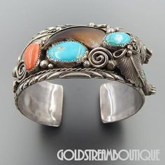 Vintage Native American Navajo Mike Thompson, Jr. Turquoise Coral Bear Claw Feathers Sterling Silver Bear Cuff Bracelet 8""