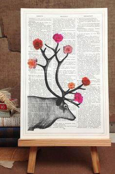 Antique Page Stag Print, £12.00 Designed and Made in UK (http://www.amabyss.com/antique-page-stag-print/)