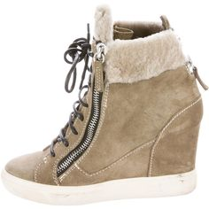 Pre-owned Giuseppe Zanotti Shearling-Trimmed Suede Wedge Sneakers ($275) ❤ liked on Polyvore featuring shoes, sneakers, brown, suede shoes, zip sneakers, lace up sneakers, brown suede sneakers and wedged sneakers