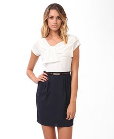 Pleated Contrast Dress w/ Belt | FOREVER 21