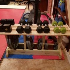 Weight Rack : 3 Steps (with Pictures) - Instructables Home Gym Bench, Diy Home Gym, Gym Room At Home, Home Gym Decor, Pool Equipment Enclosure, Pool Equipment Cover, No Equipment Workout, Home Gym Design, Home Bar Designs