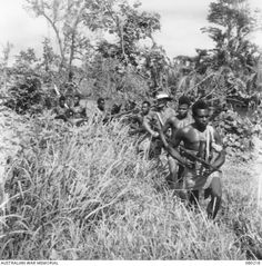 Elements of the Papuan Infantry Battalion, with an Australian sergeant along for the patrol, trudge through the high grass of the New Guinea jungle in July Ww2 History, Military History, War Of The Pacific, China, Papua New Guinea, Armed Forces, World War Two, Wwii, Vietnam