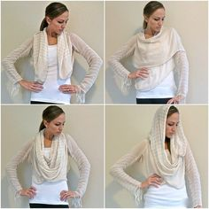 Clearance Scarves Sewn French Convertible  cardigan.