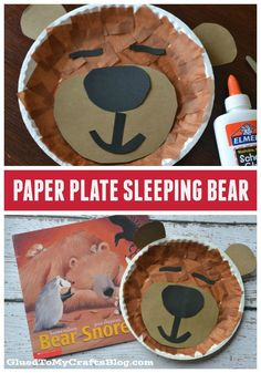 Paper Plate Sleeping Bear {Kid Craft} Childrens Book Inspired - Bear Snores On - Winter DIY Idea Bear Crafts Preschool, Fall Preschool, Toddler Crafts, Winter Diy, Winter Crafts For Kids, Teddy Bear Crafts, Classroom Crafts, Plate Crafts, In Kindergarten