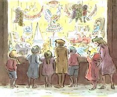 Toy Shop by Edward Ardizzone Christmas Illustration, Children's Book Illustration, Edward Ardizzone, Paint Photography, Art Party, Toy Store, Vintage Cards, Beautiful Paintings, Childrens Books