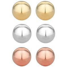Set of three mixed metal ball stud earrings (16 CAD) ❤ liked on Polyvore featuring jewelry, earrings, ball stud earrings, ball jewelry, jon richard, stud earrings and mixed metal earrings