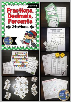 Fractions, Decimals, Percents Stations will give your students an opportunity to practice converting fractions, decimals, and percents. This station pack includes 7 activities relating to the concept of converting fractions, decimals, and percents . The activities are perfect for setting up as stations around the room. $ gr 5-8