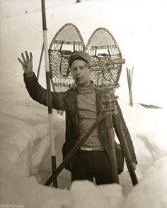 Vintage Survey Transit Antique Surveying With Snowshoes Surveyor Four Feet Snow