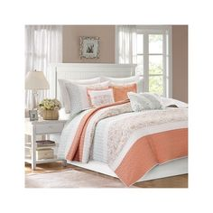 Madison Park Dawn 6 Piece Quilted Coverlet Set ($108) ❤ liked on Polyvore featuring home, bed & bath, bedding, quilts, coral, orange pillow shams, green coverlet, orange paisley bedding, madison park bedding and lace pillow shams