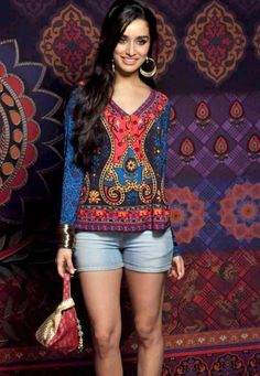 Shraddha Kapoor in Global Desi colourful print kurta