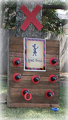 Recycled palette + pirate hooks = ring toss game