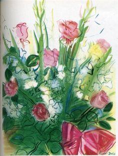 Bouquet of roses-Raoul Dufy - by style - Naïve Art (Primitivism)