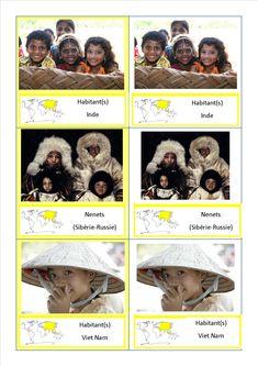 Cartes de nomenclature Montessori pour les habitants du monde