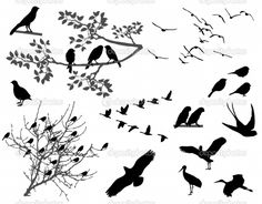 silhouettes of birds | flying-bird-silhouette-tattoo-stock-image-of-flying-birds-silhouette ...