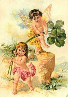 Vintage Angel Clip Art Free | Free Vintage St. Patrick's Day Cute Kids Greeting Cards