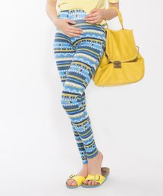 Love this Polkadot Blue & White Geometric Maternity Over-Belly Leggings on #zulily! #zulilyfinds
