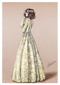 """Delphine Manivet"" Fashion illustration done in paper with colored pencils and white gel pen. 2014"