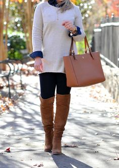 The perfect beige sweater to wear with leggings and over the knee boots to create a great casual outfit.