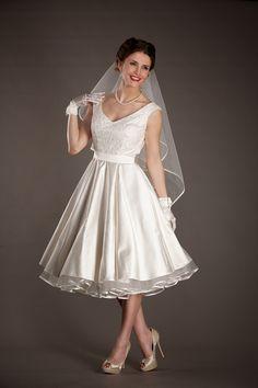 50er Petticoat Kleid Hochzeit Brautkleid weiß