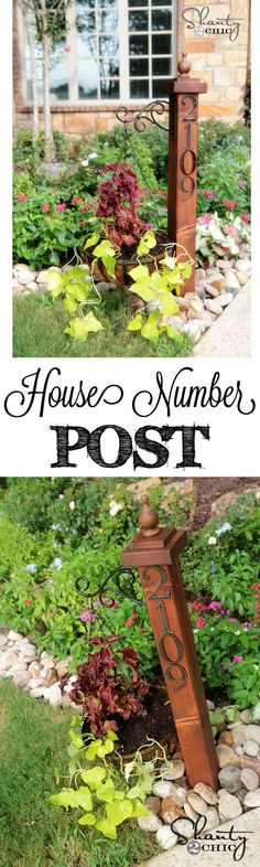 "Address Numbers Post Planter (tutorial) | ""I have a really fun and simple way of displaying your address number outside your home!  Here is how mine turned out…"" ~ Whitney 