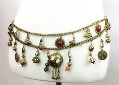 Belly Dance Belt | Tribal Belt | Gypsy Belt | Gold Tone Charms | Vintage Belt| Healing stone Belt | Natural Stone belt | Natural Stone Charm
